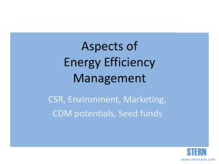 Aspects of  Energy Efficiency  Management