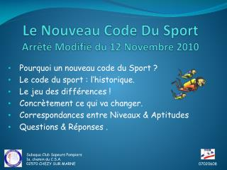 Le Nouveau Code Du Sport Arrêté Modifié du 12 Novembre 2010