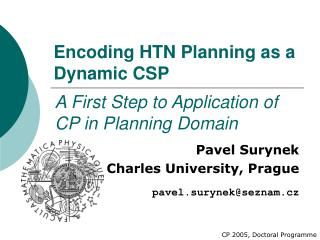Encoding HTN Planning as a Dynamic CSP