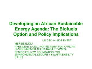 Developing an African Sustainable Energy Agenda: The Biofuels Option and Policy Implications