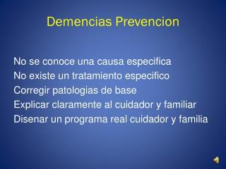 Demencias Prevencion