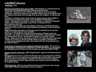 LAUNAY Aurore Catégorie :  ICA