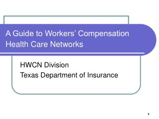 A Guide to Workers  Compensation Health Care Networks