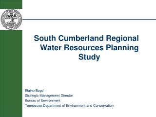 South Cumberland Regional Water Resources Planning Study  Elaine Boyd