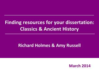 Finding resources for your dissertation: Classics & Ancient History