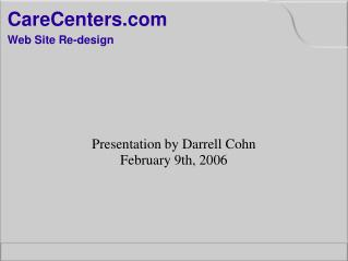 CareCenters Web Site Re-design