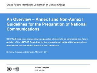 An Overview – Annex I and Non-Annex I Guidelines for the Preparation of National Communications