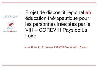 Jeudi 23 juin 2011  - plénière COREVIH Pays de Loire - Angers