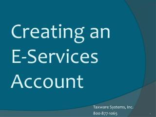 Creating an E-Services Account