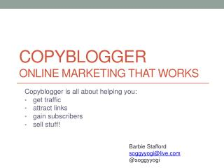 Copyblogger Online Marketing that Works