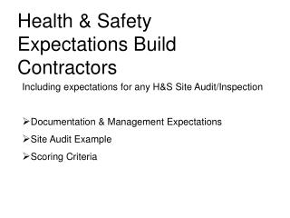 Health & Safety Expectations Build Contractors