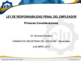 LEY DE RESPONSABILIDAD PENAL DEL EMPLEADOR Primeras Consideraciones Dr. Gonzalo Irrazabal