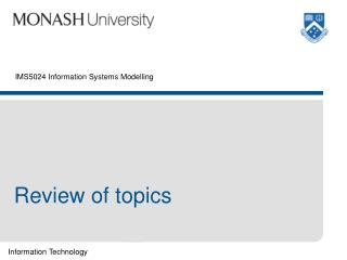 IMS5024 Information Systems Modelling