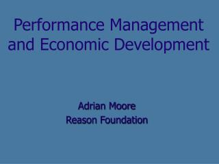 Performance Management and Economic Development