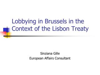 Lobbying in Brussels in the Context of the Lisbon Treaty