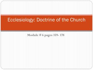 Ecclesiology: Doctrine of the Church