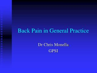 Back Pain in General Practice