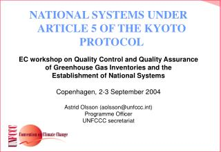 NATIONAL SYSTEMS UNDER ARTICLE 5 OF THE KYOTO PROTOCOL