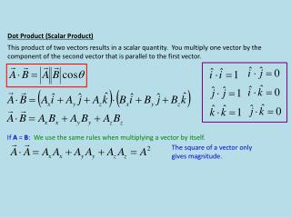 Dot Product (Scalar Product)