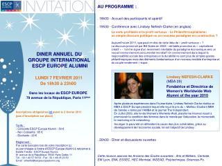 DINER ANNUEL  DU  GROUPE INTERNATIONAL  ESCP EUROPE ALUMNI