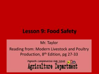 Lesson 9: Food Safety