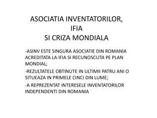 ASOCIATIA INVENTATORILOR, IFIA SI CRIZA MONDIALA