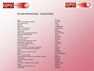 Kundenreferenzliste - Deutschland