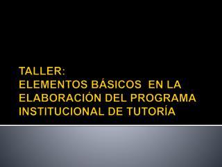 TALLER:  ELEMENTOS BÁSICOS  EN LA ELABORACIÓN DEL PROGRAMA INSTITUCIONAL DE TUTORÍA