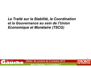 Atelier de Lecture du 5 octobre 2012