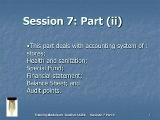 Session 7: Part (ii)