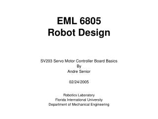 EML 6805 Robot Design