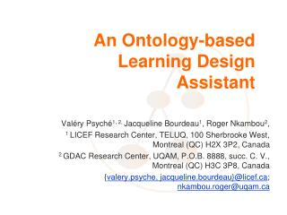 An Ontology-based Learning Design Assistant