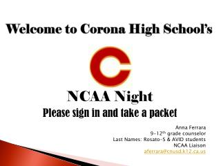 Welcome to Corona High School's
