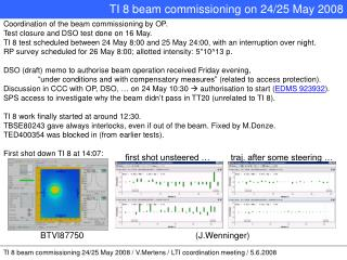 TI 8 beam commissioning 24/25 May 2008 / V.Mertens / LTI coordination meeting / 5.6.2008