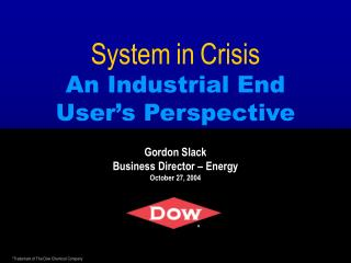 System in Crisis An Industrial End User's Perspective