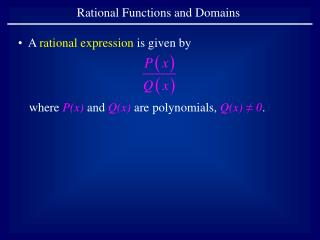 Rational Functions and Domains