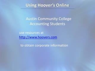 Using Hoover's Online