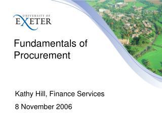 Fundamentals of  Procurement