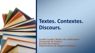 Textes. Contextes. Discours.