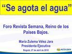Foro Revista Semana, Reino de los Pa ses Bajos.  Mar a Zulema V lez Jara  Presidenta Ejecutiva  Bogot , 27 de abril de 2