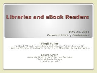 Libraries and eBook Readers