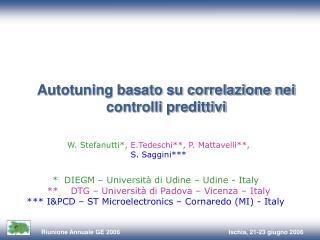 Autotuning basato su correlazione nei controlli predittivi