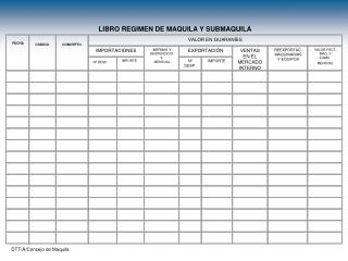 �LIBRO REGIMEN DE MAQUILA Y SUBMAQUILA