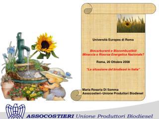 Università Europea di Roma Biocarburanti e Biocombustibili