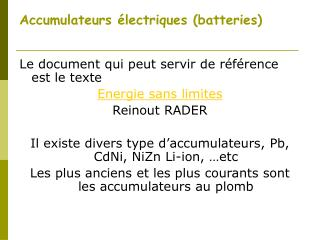 Accumulateurs �lectriques (batteries)