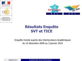 Résultats Enquête  SVT et TICE