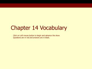 Chapter 14 Vocabulary