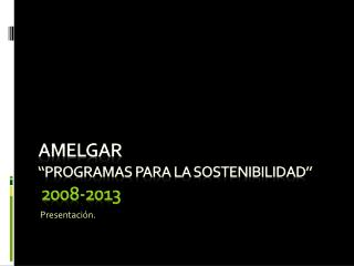 """AMELGAR """"PROGRAMAS PARA LA SOSTENIBILIDAD"""" 2008-2013"""