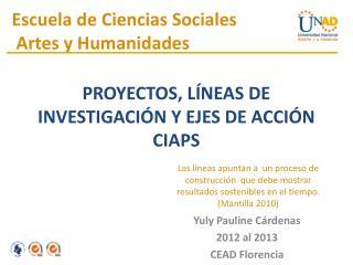 PROYECTOS, LÍNEAS DE INVESTIGACIÓN Y EJES DE ACCIÓN CIAPS