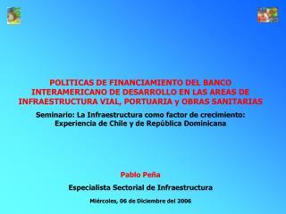 POLITICAS DE FINANCIAMIENTO DEL BANCO INTERAMERICANO DE DESARROLLO EN LAS AREAS DE INFRAESTRUCTURA VIAL, PORTUARIA y OBR